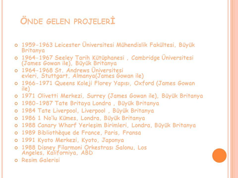 Önde gelen projelerİ 1959-1963 Leicester Üniversitesi Mühendislik Fakültesi, Büyük Britanya.