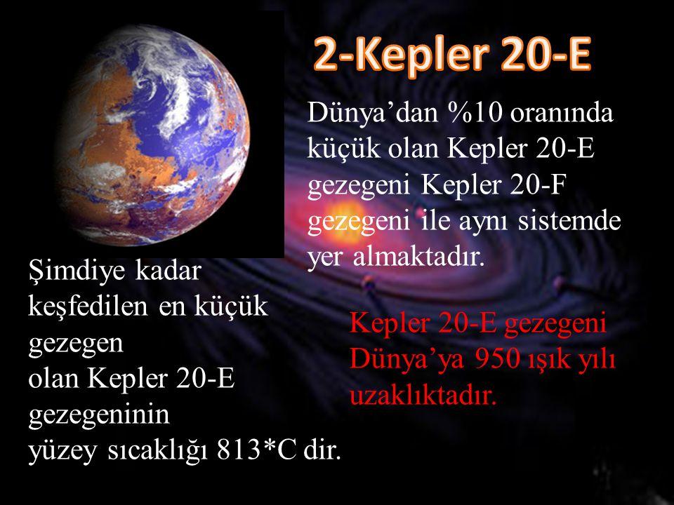 2-Kepler 20-E Dünya'dan %10 oranında küçük olan Kepler 20-E