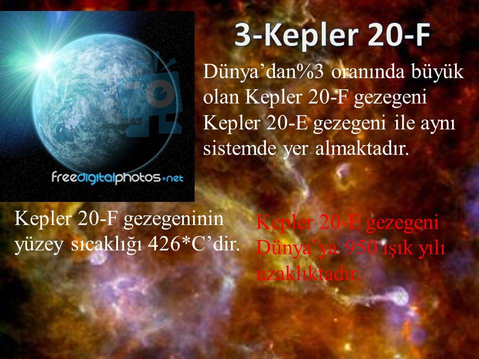 3-Kepler 20-F Dünya'dan%3 oranında büyük olan Kepler 20-F gezegeni
