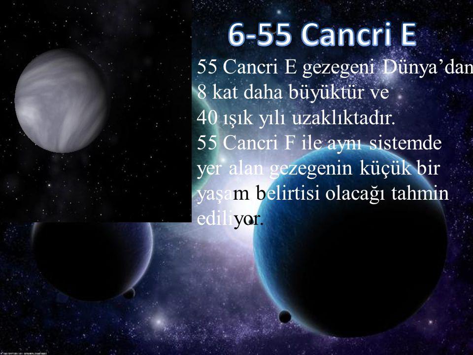 6-55 Cancri E 55 Cancri E gezegeni Dünya'dan 8 kat daha büyüktür ve