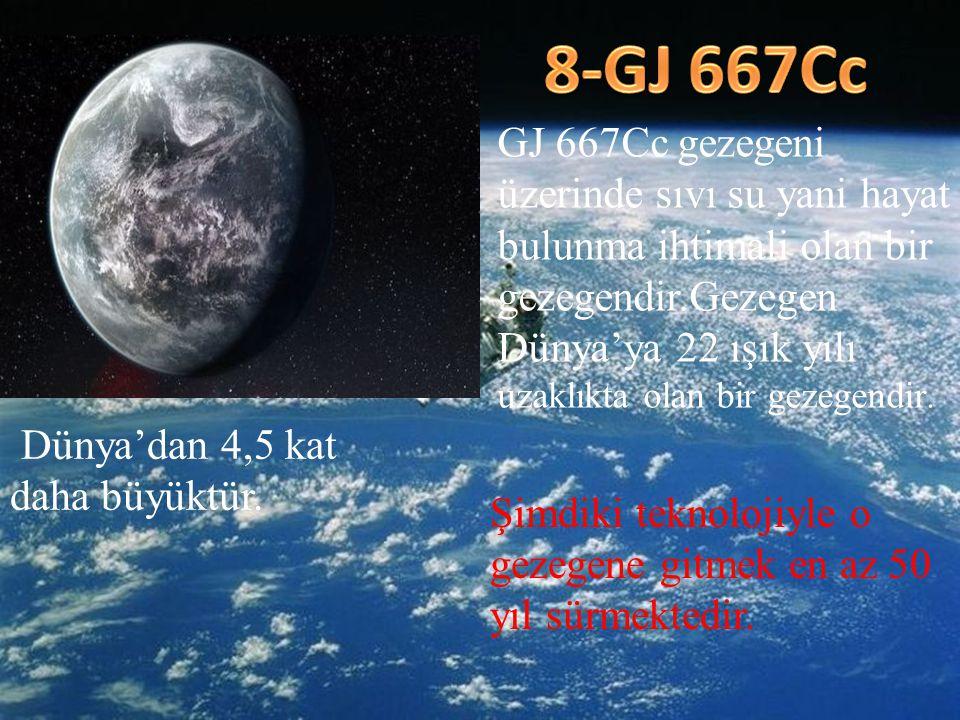 8-GJ 667Cc GJ 667Cc gezegeni üzerinde sıvı su yani hayat