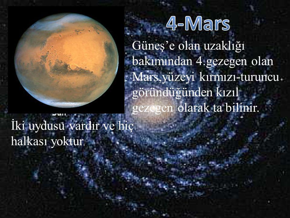 4-Mars Güneş'e olan uzaklığı bakımından 4.gezegen olan Mars,yüzeyi kırmızı-turuncu göründüğünden kızıl gezegen olarak ta bilinir.