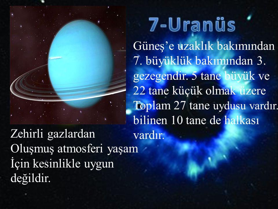 7-Uranüs Güneş'e uzaklık bakımından 7. büyüklük bakımından 3.