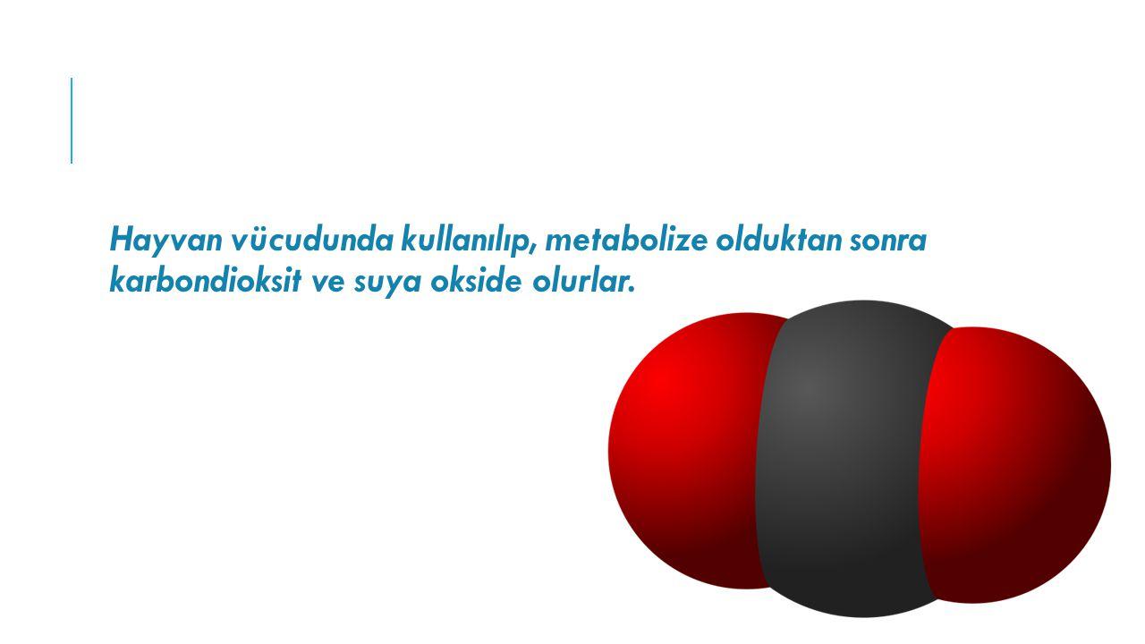 Hayvan vücudunda kullanılıp, metabolize olduktan sonra karbondioksit ve suya okside olurlar.