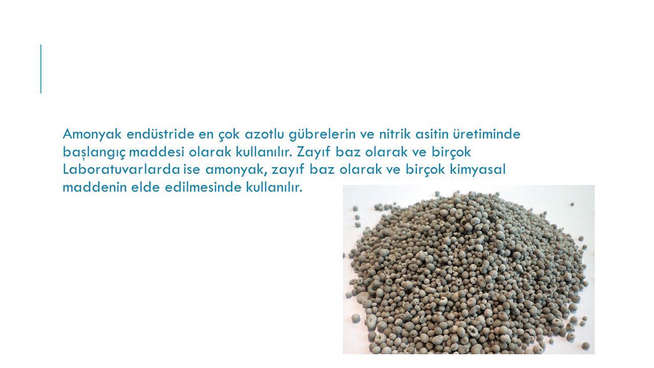 Amonyak endüstride en çok azotlu gübrelerin ve nitrik asitin üretiminde başlangıç maddesi olarak kullanılır.