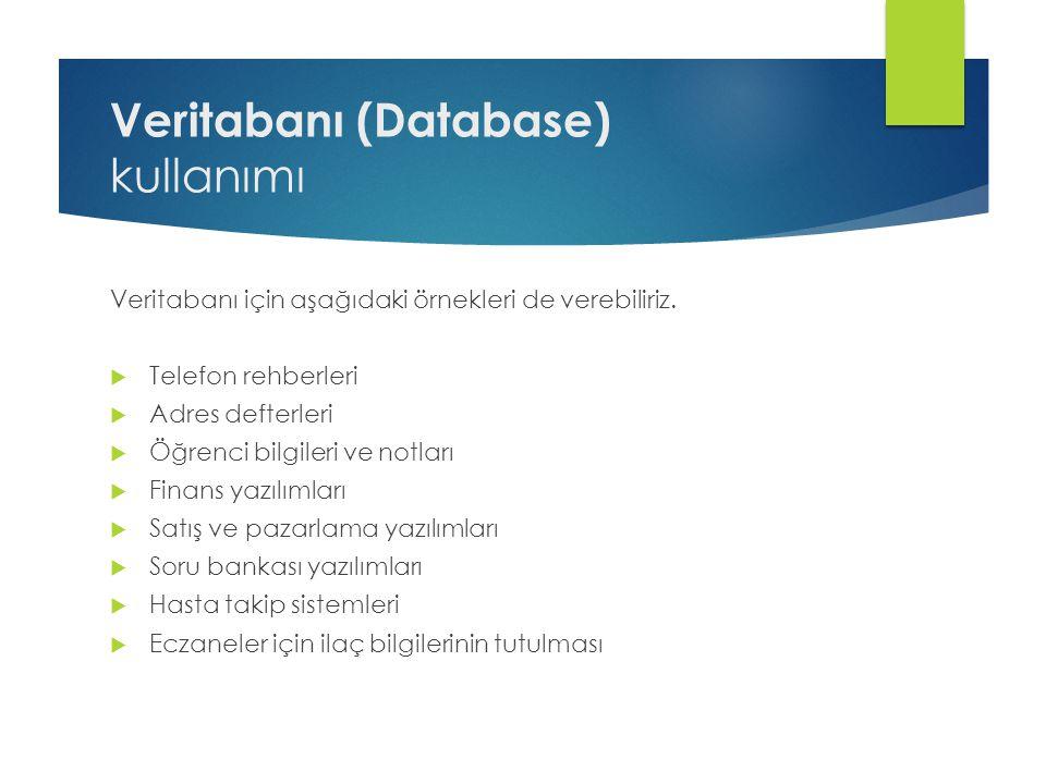 Veritabanı (Database) kullanımı