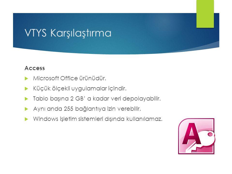VTYS Karşılaştırma Access Microsoft Office ürünüdür.