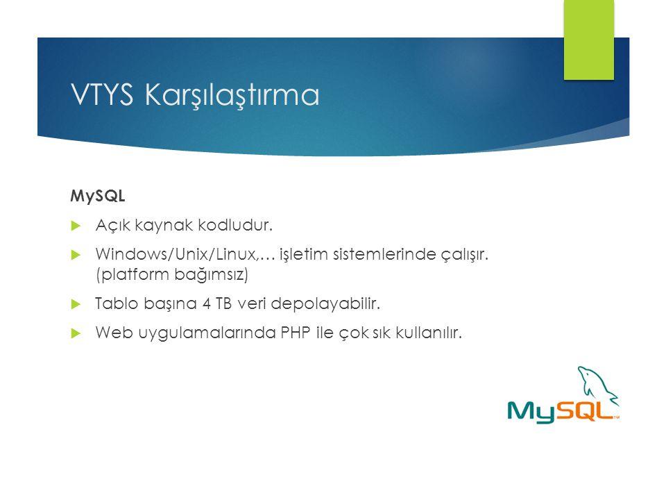 VTYS Karşılaştırma MySQL Açık kaynak kodludur.