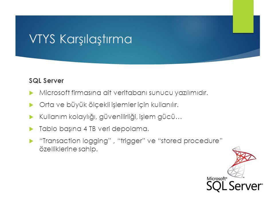 VTYS Karşılaştırma SQL Server