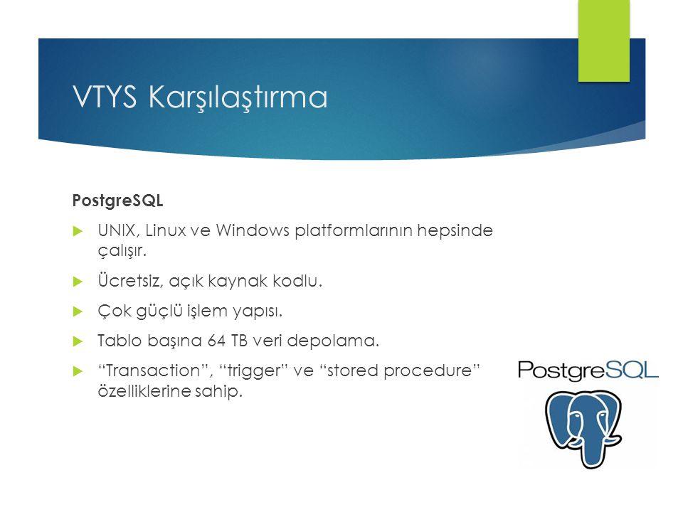 VTYS Karşılaştırma PostgreSQL