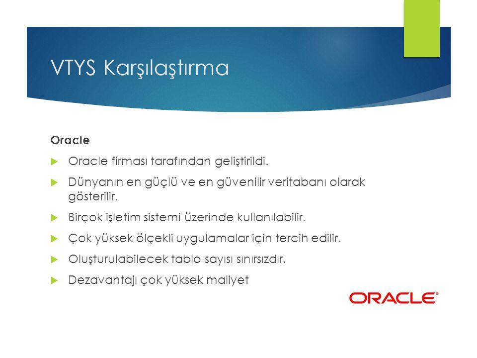 VTYS Karşılaştırma Oracle Oracle firması tarafından geliştirildi.