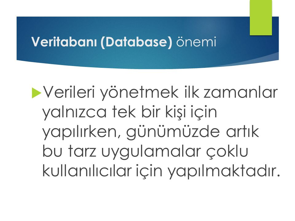 Veritabanı (Database) önemi