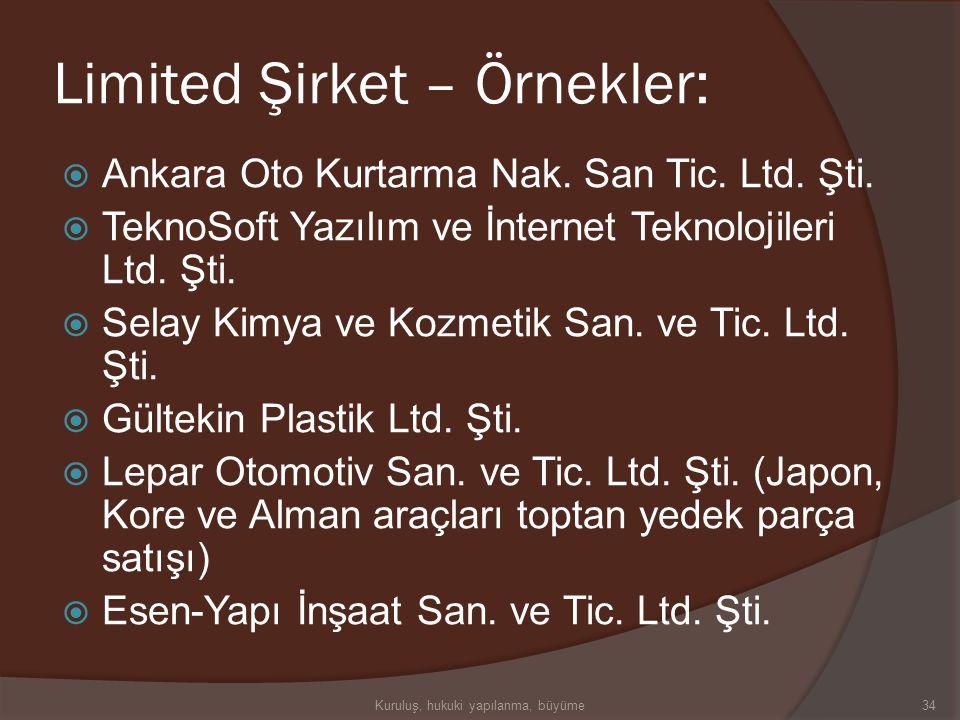 Limited Şirket – Örnekler: