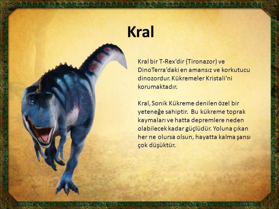 Kral Kral bir T-Rex'dir (Tironazor) ve DinoTerra'daki en amansız ve korkutucu dinozordur. Kükremeler Kristali'ni korumaktadır.