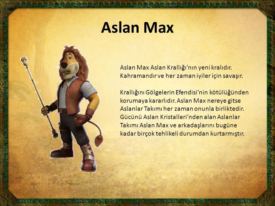 Aslan Max Aslan Max Aslan Krallığı'nın yeni kralıdır. Kahramandır ve her zaman iyiler için savaşır.