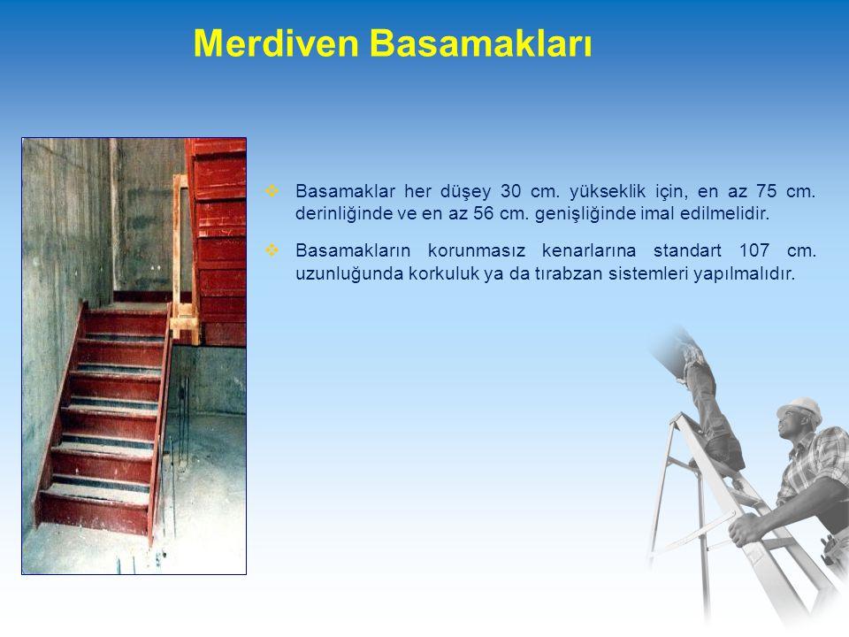 Merdiven Basamakları Basamaklar her düşey 30 cm. yükseklik için, en az 75 cm. derinliğinde ve en az 56 cm. genişliğinde imal edilmelidir.