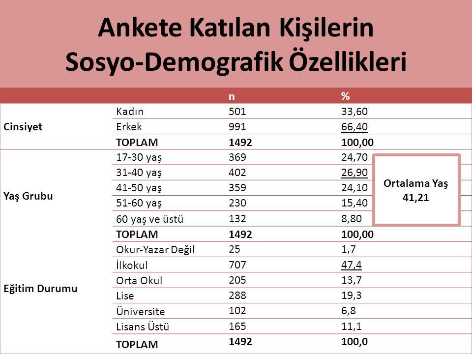 Ankete Katılan Kişilerin Sosyo-Demografik Özellikleri