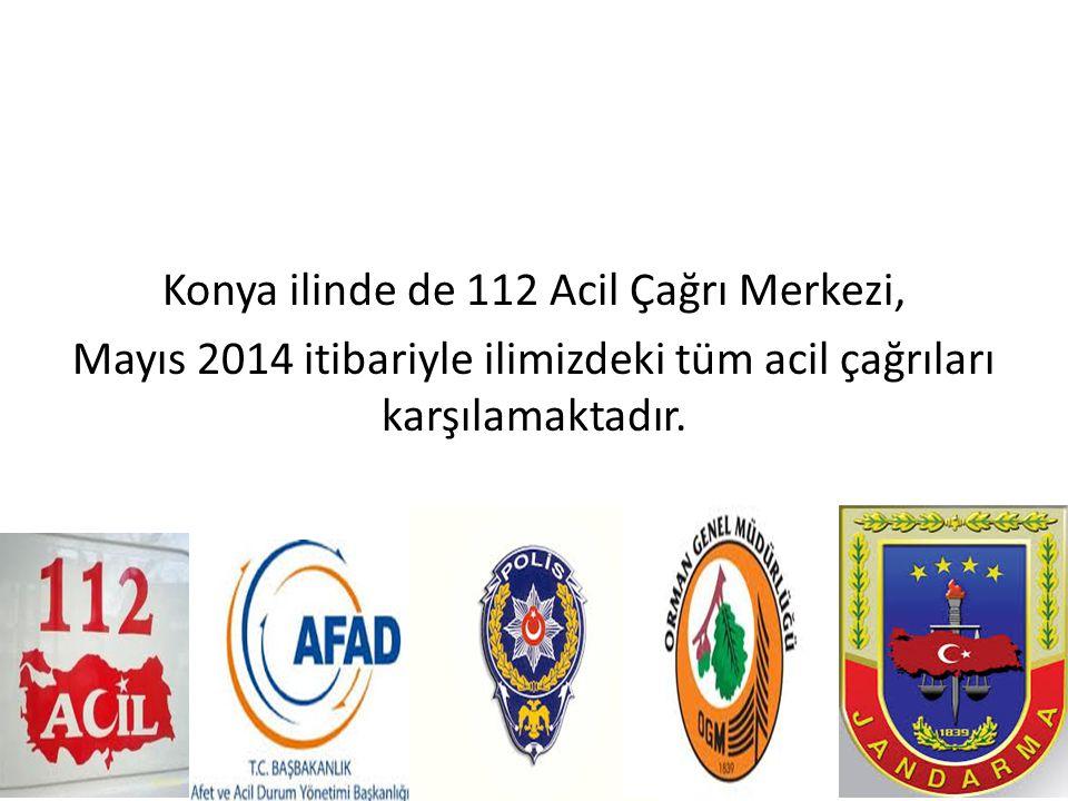 Konya ilinde de 112 Acil Çağrı Merkezi, Mayıs 2014 itibariyle ilimizdeki tüm acil çağrıları karşılamaktadır.