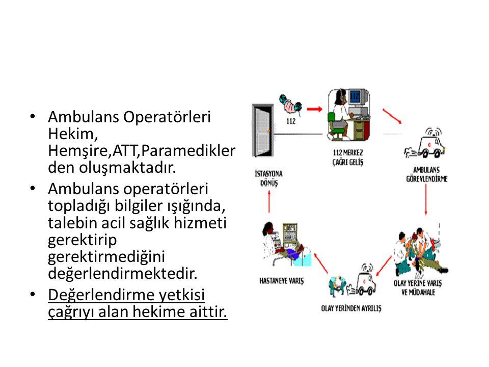 Ambulans Operatörleri Hekim, Hemşire,ATT,Paramediklerden oluşmaktadır.