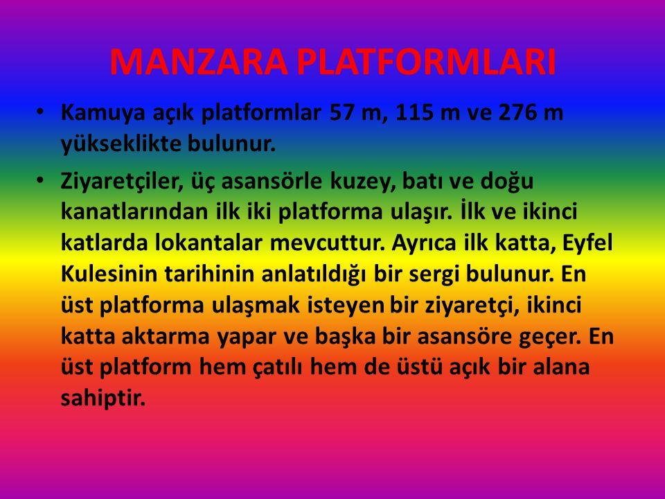 MANZARA PLATFORMLARI Kamuya açık platformlar 57 m, 115 m ve 276 m yükseklikte bulunur.