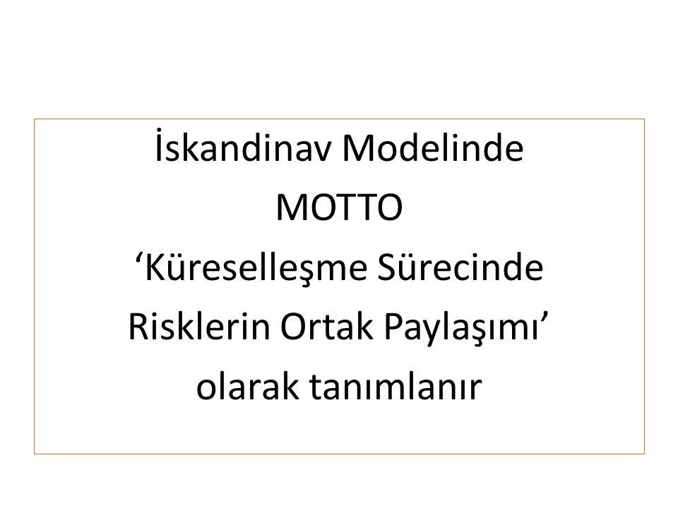 İskandinav Modelinde MOTTO 'Küreselleşme Sürecinde Risklerin Ortak Paylaşımı' olarak tanımlanır