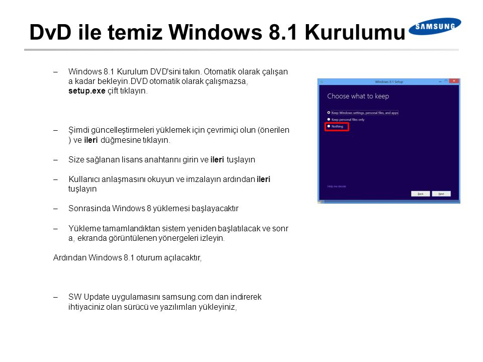 DvD ile temiz Windows 8.1 Kurulumu