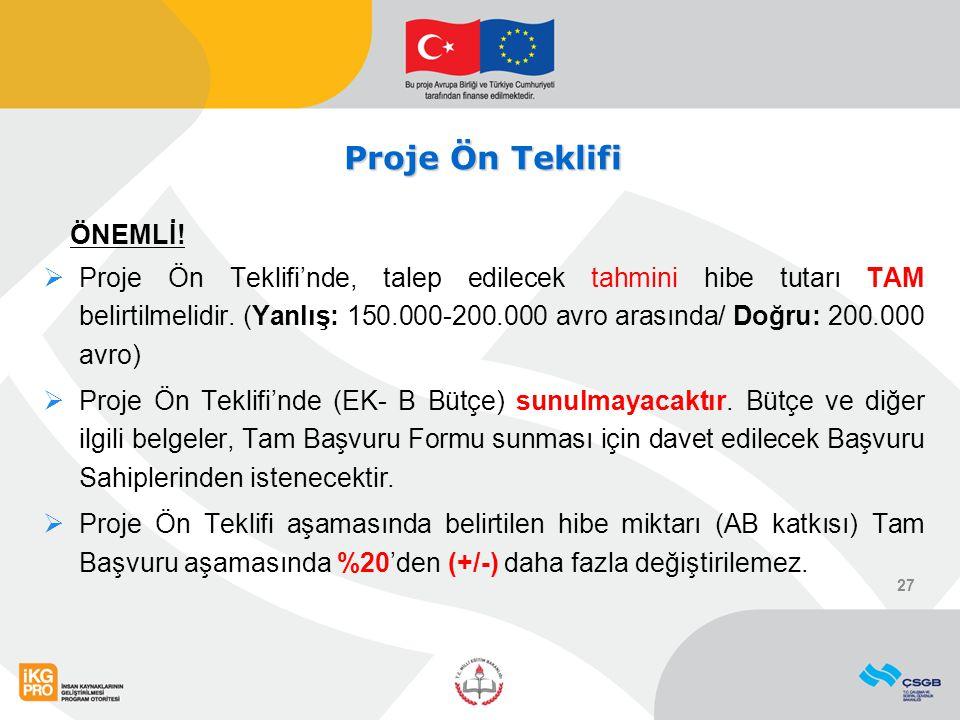 Proje Ön Teklifi ÖNEMLİ!