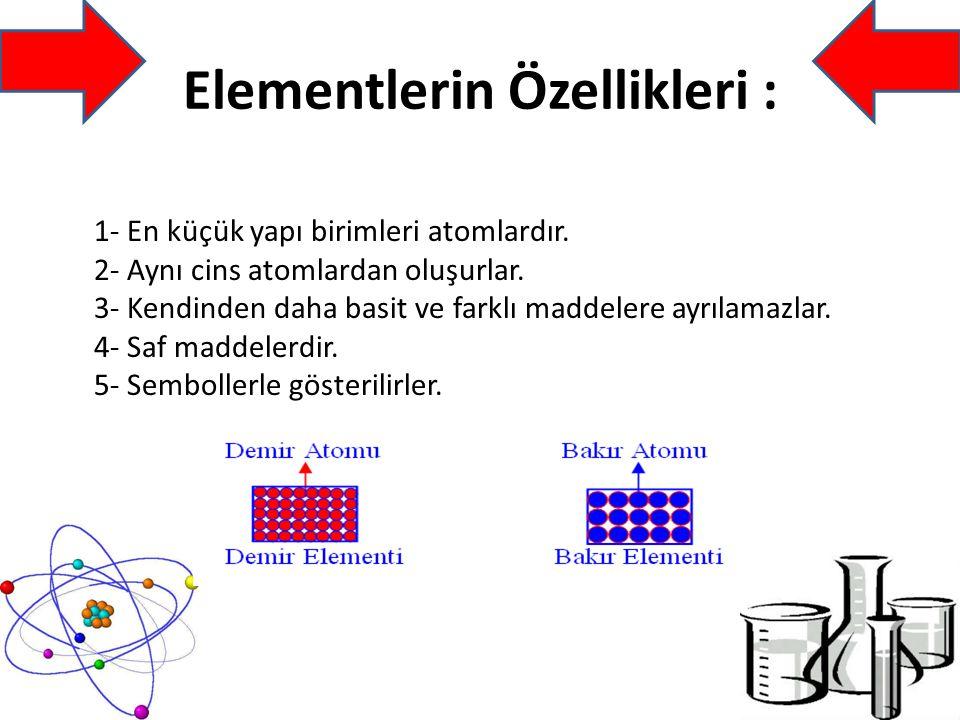 Elementlerin Özellikleri :