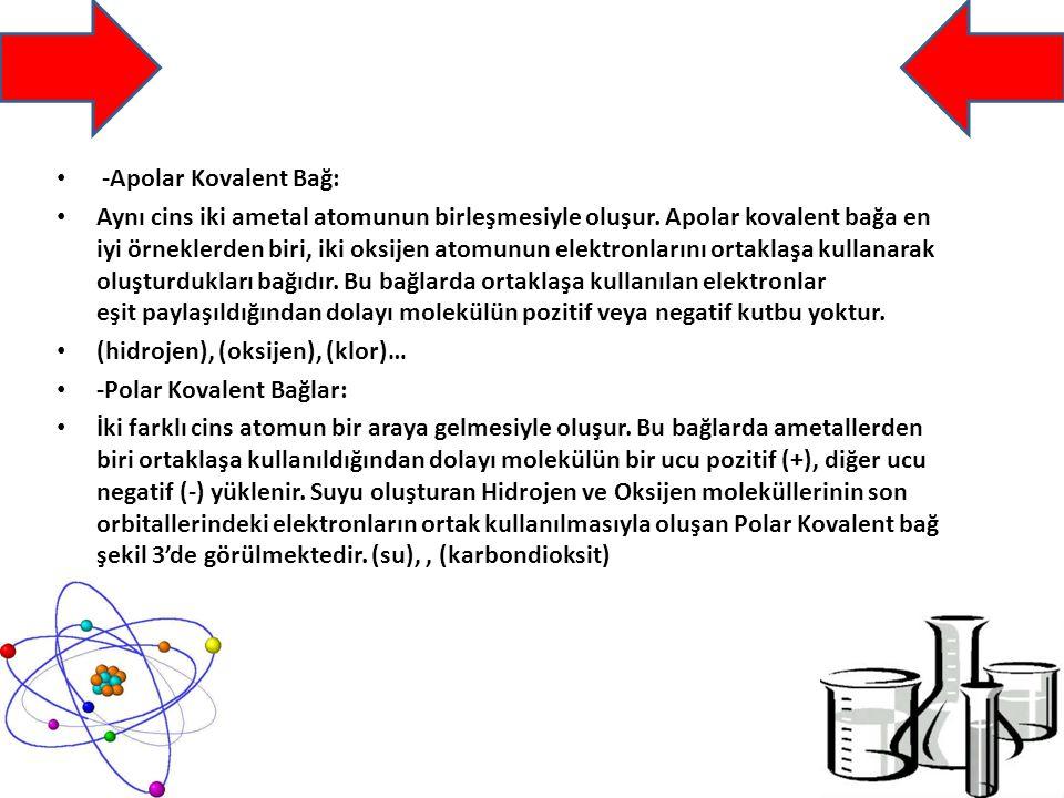-Apolar Kovalent Bağ:
