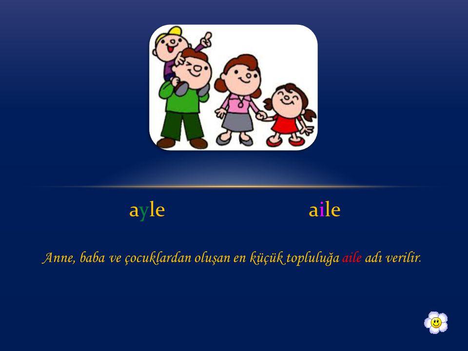ayle aile Anne, baba ve çocuklardan oluşan en küçük topluluğa aile adı verilir.