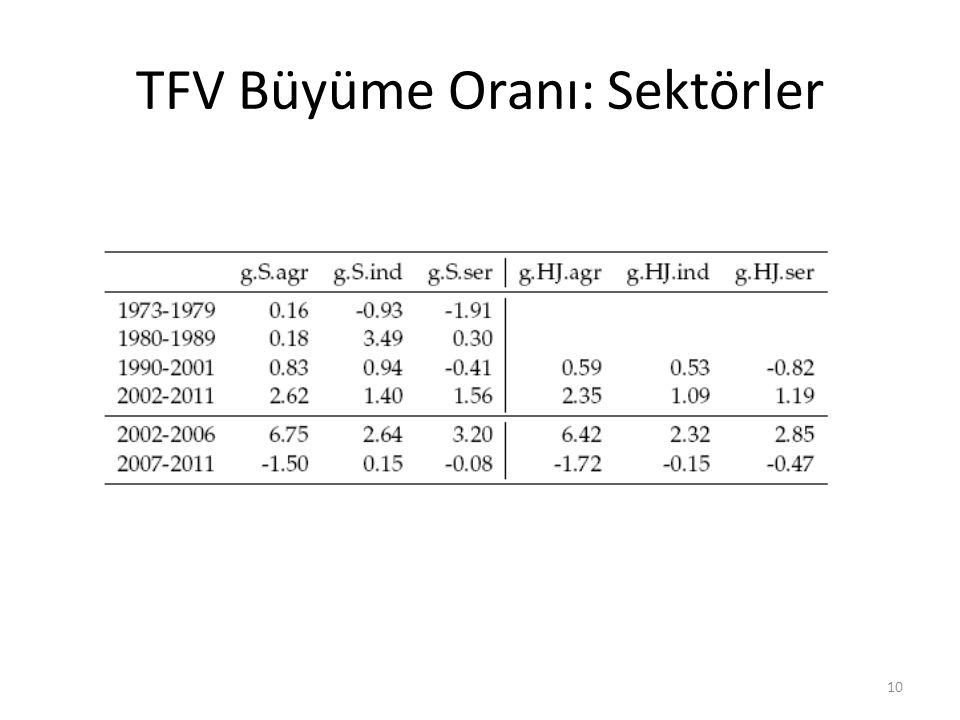 TFV Büyüme Oranı: Sektörler
