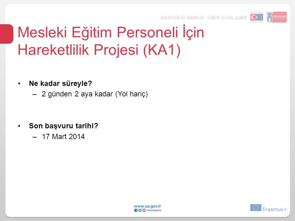 Mesleki Eğitim Personeli İçin Hareketlilik Projesi (KA1)