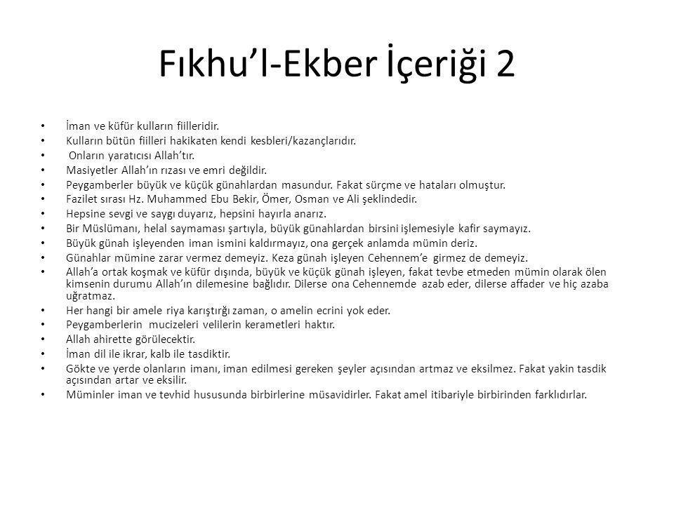 Fıkhu'l-Ekber İçeriği 2