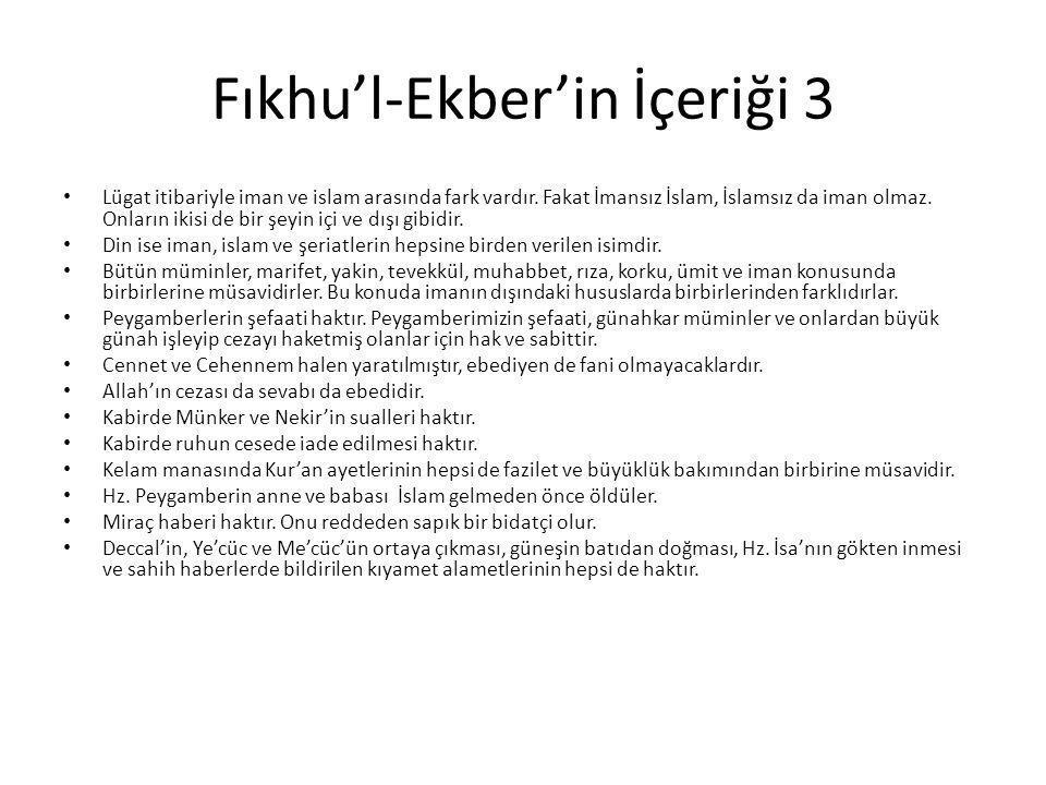 Fıkhu'l-Ekber'in İçeriği 3