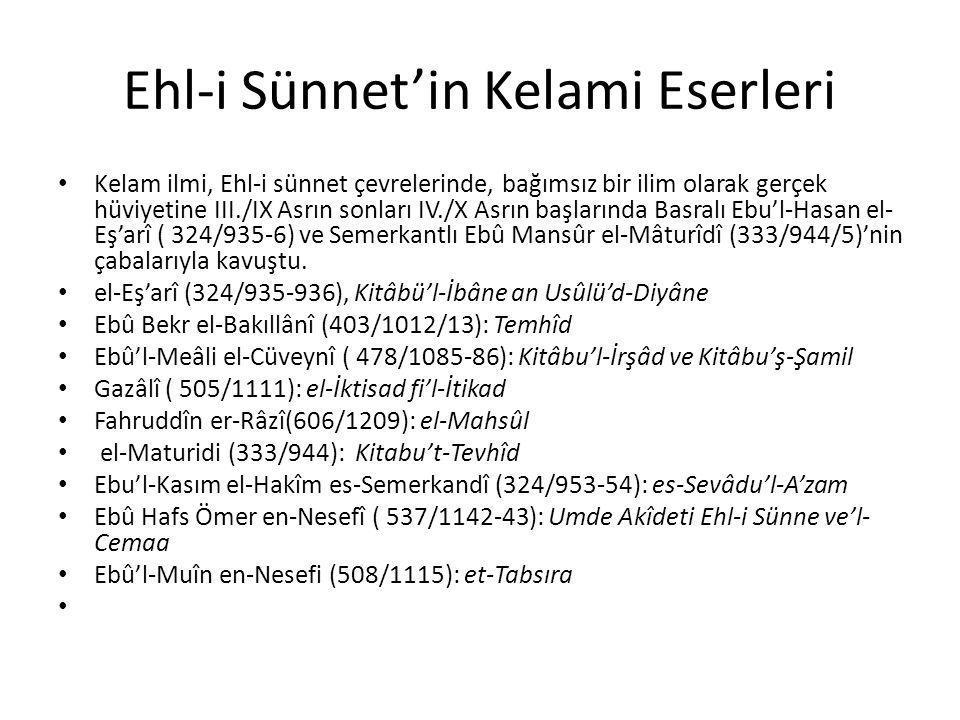 Ehl-i Sünnet'in Kelami Eserleri