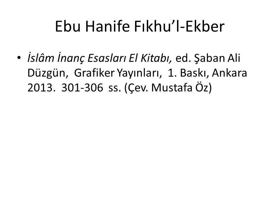 Ebu Hanife Fıkhu'l-Ekber