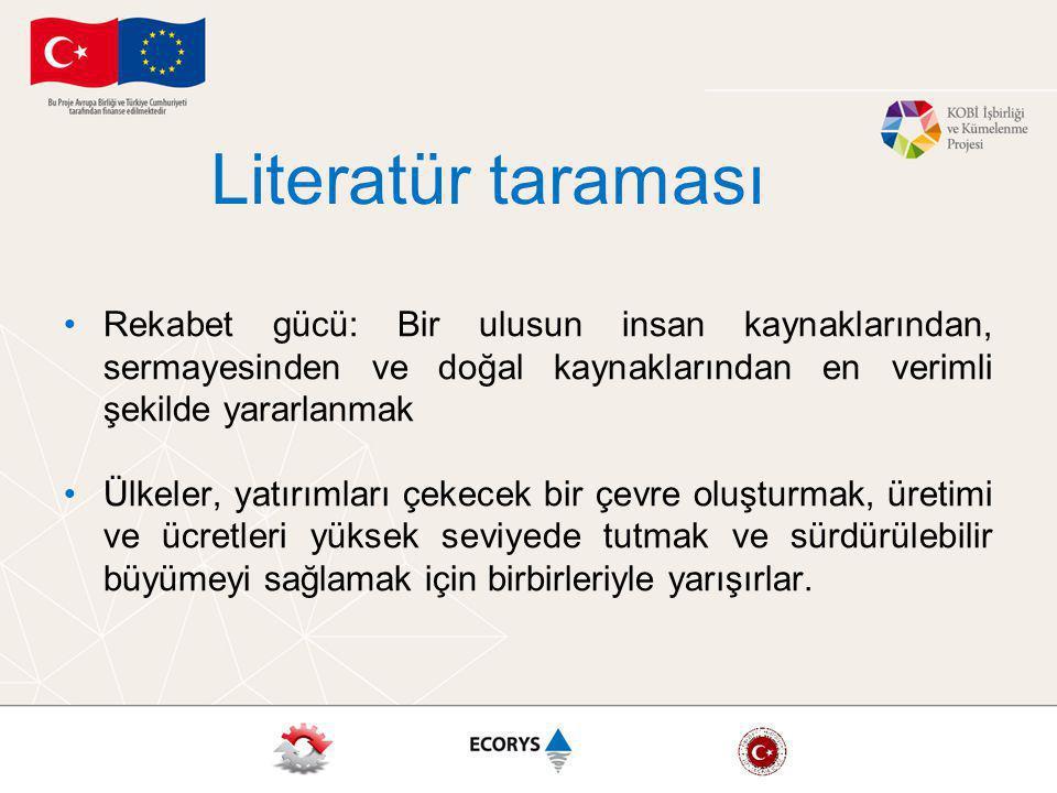 Literatür taraması Rekabet gücü: Bir ulusun insan kaynaklarından, sermayesinden ve doğal kaynaklarından en verimli şekilde yararlanmak.