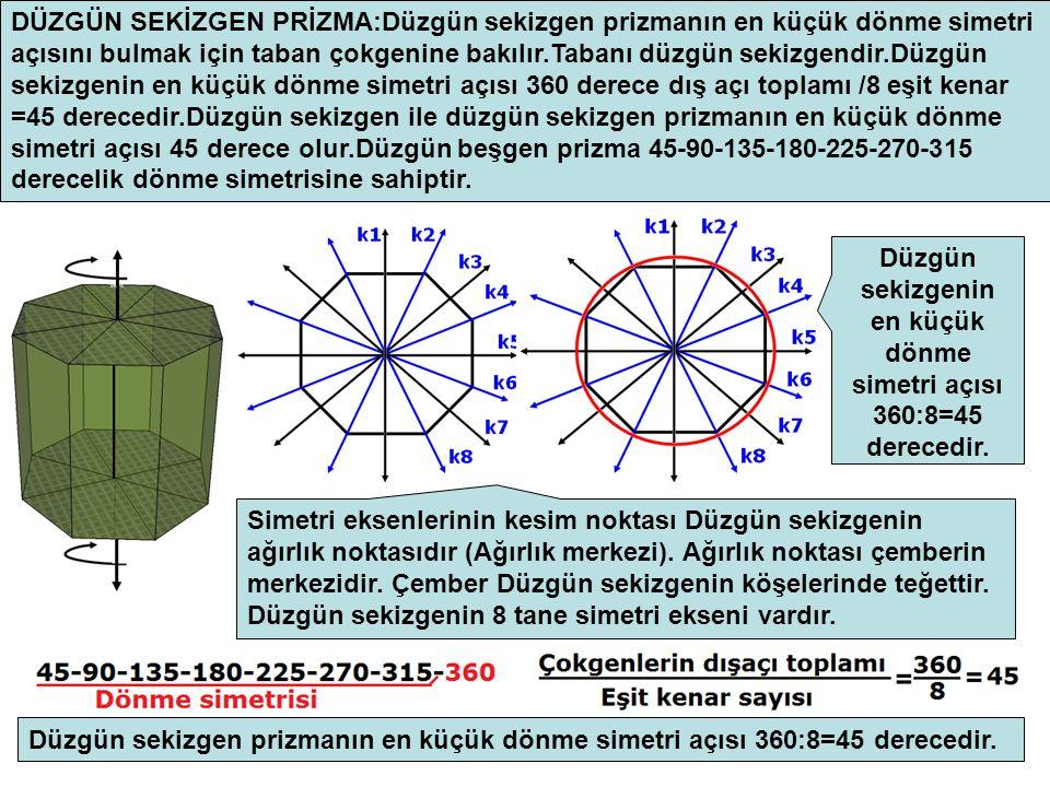 Düzgün sekizgenin en küçük dönme simetri açısı 360:8=45 derecedir.