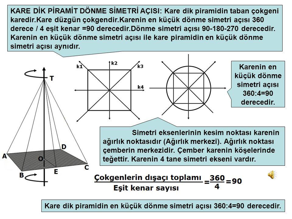 Karenin en küçük dönme simetri açısı 360:4=90 derecedir.