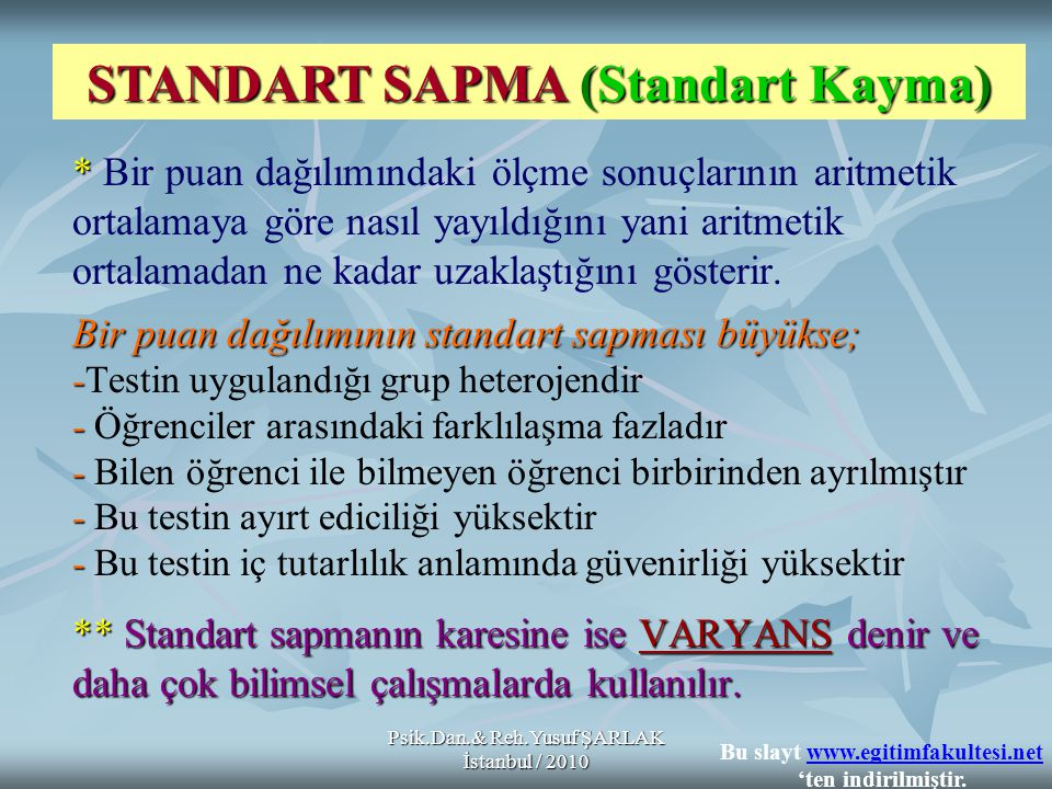 STANDART SAPMA (Standart Kayma)