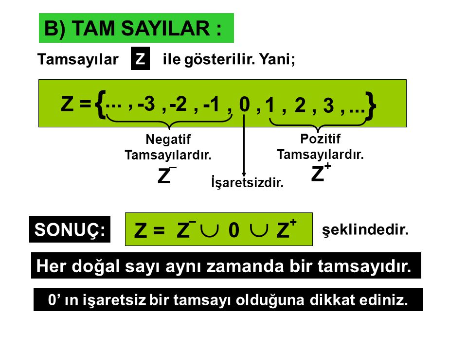 { }   B) TAM SAYILAR : ... , Z = -3 , -2 , -1 , 0 , 1 , 2 , 3 , ...