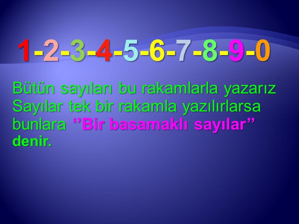 1-2-3-4-5-6-7-8-9-0 Bütün sayıları bu rakamlarla yazarız