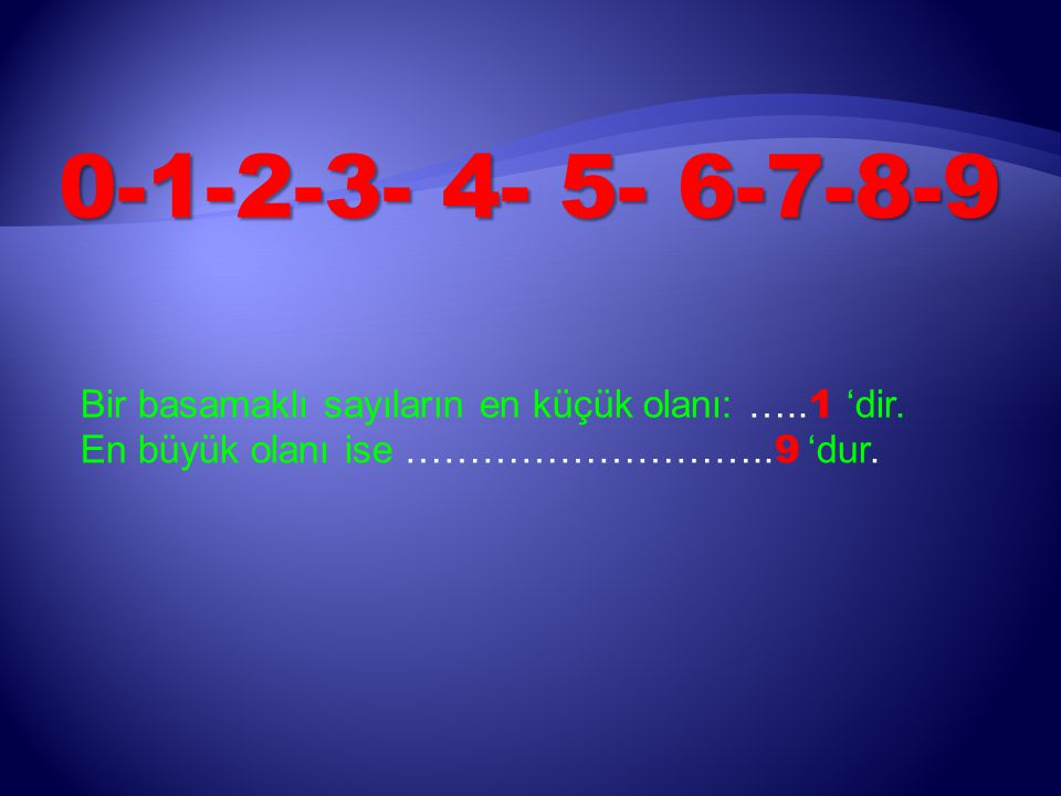 0-1-2-3- 4- 5- 6-7-8-9 Bir basamaklı sayıların en küçük olanı: …..1 'dir.