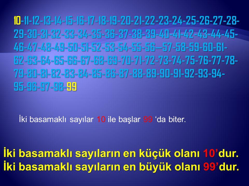 İki basamaklı sayıların en küçük olanı 10'dur.