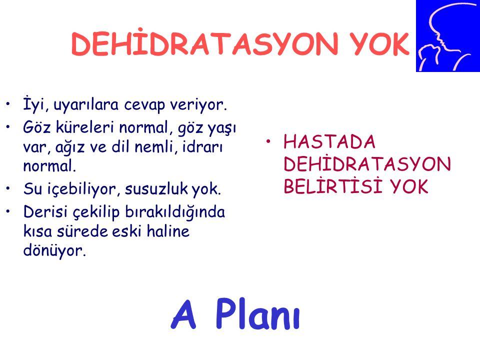 A Planı DEHİDRATASYON YOK HASTADA DEHİDRATASYON BELİRTİSİ YOK