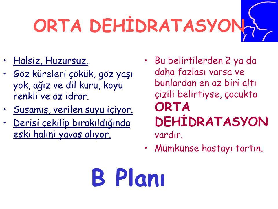 B Planı ORTA DEHİDRATASYON Halsiz, Huzursuz.
