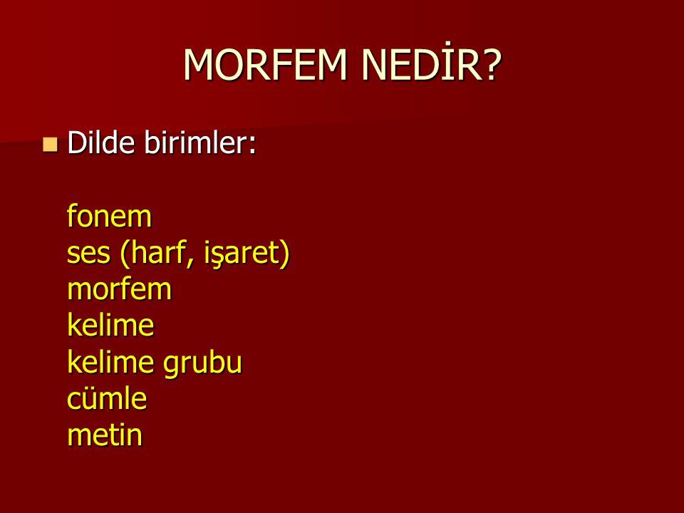 MORFEM NEDİR Dilde birimler: fonem ses (harf, işaret) morfem kelime kelime grubu cümle metin