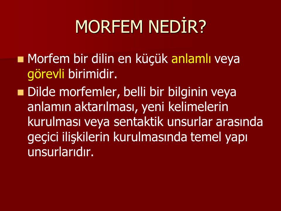 MORFEM NEDİR Morfem bir dilin en küçük anlamlı veya görevli birimidir.