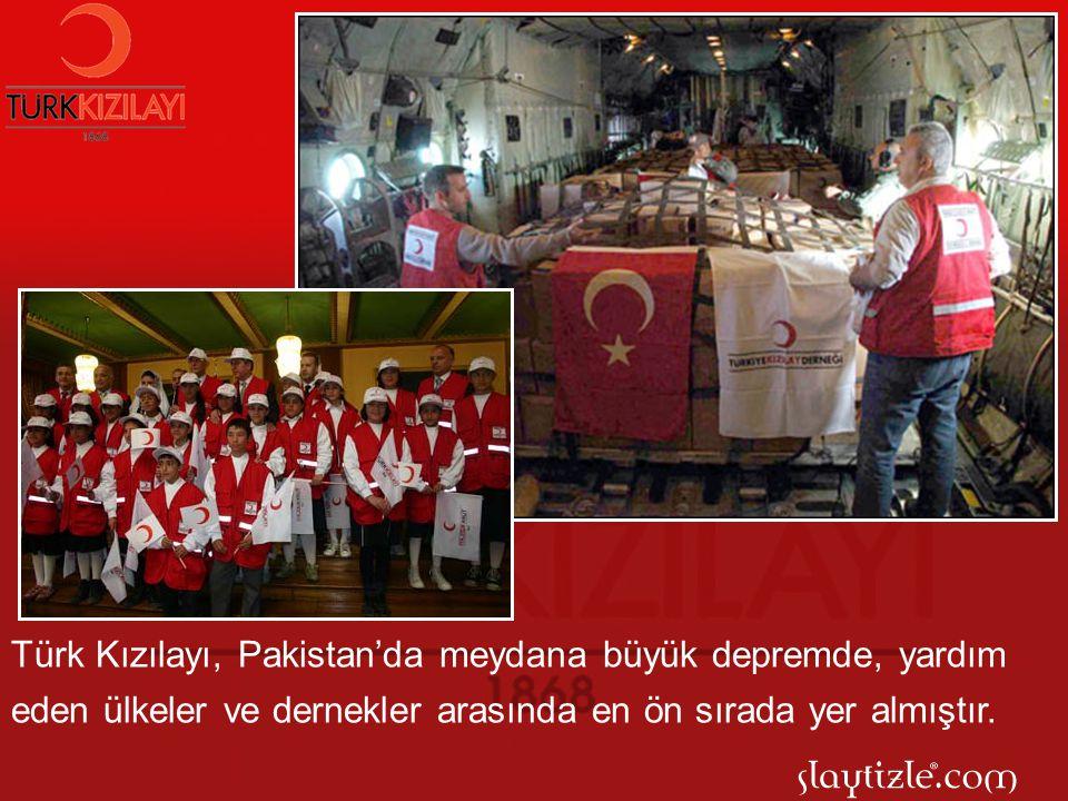 Türk Kızılayı, Pakistan'da meydana büyük depremde, yardım eden ülkeler ve dernekler arasında en ön sırada yer almıştır.