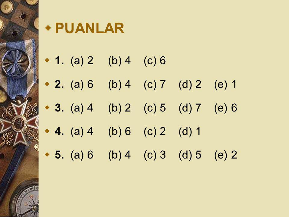 PUANLAR 1. (a) 2 (b) 4 (c) 6 2. (a) 6 (b) 4 (c) 7 (d) 2 (e) 1